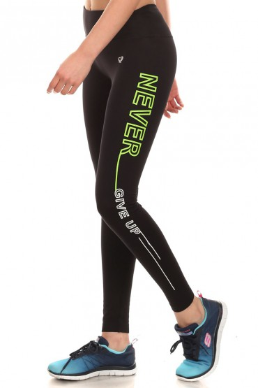 BLK/NEON YELLOW/WHT (NEVER GIVE UP) ACTIVE WORDING LEGGINGS #6AL03-01