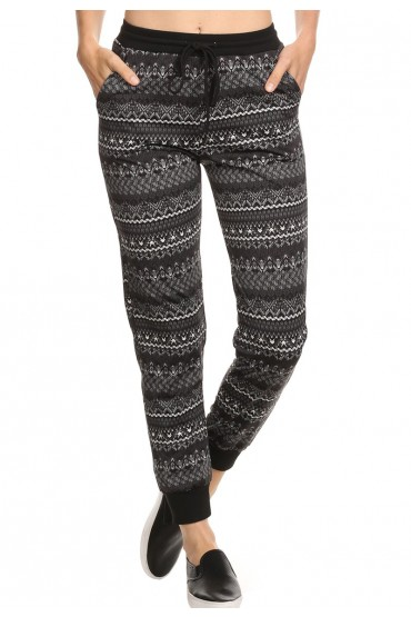 BLACK/GREY/WHITE TRIBAL PRINT FLEECE LINED JOGGER #6TRK10-01