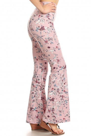 MAUVE FLORAL PRINT  BRUSH POLY FLARE PANTS#8FP01-13
