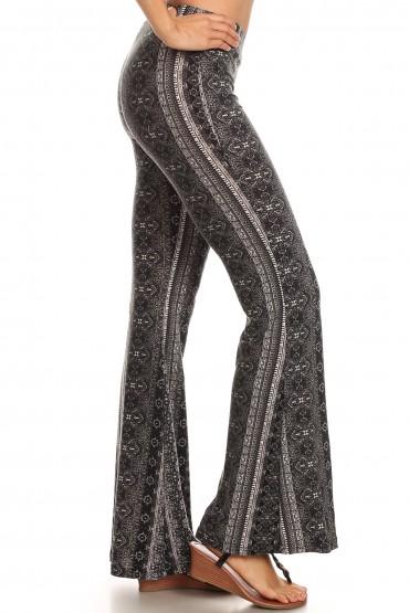 BLACK/WHITE BOHO PRINT BRUSH POLY FLARE PANTS#8FP01-28