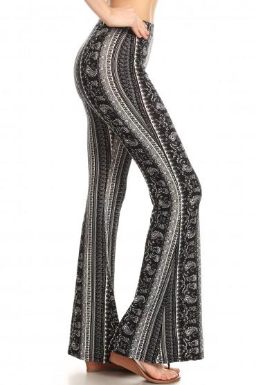 BLACK/WHITE PAISLEY PRINT BRUSH POLY FLARE PANTS#8FP01-33