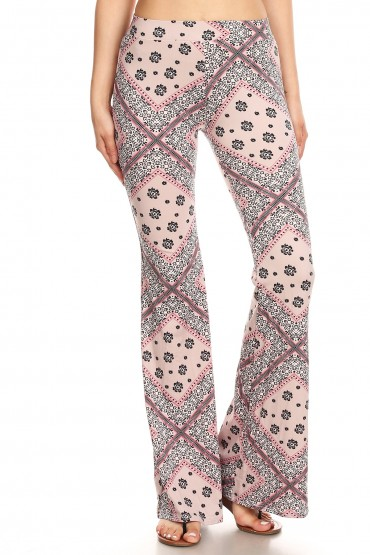 MAUVE WHITE FLORAL HANKER CHIEF PRINT BRUSH POLY FLARE PANTS# 8FP01-37