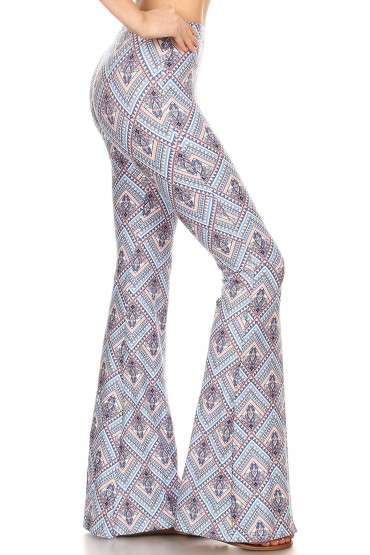 BLUE/PEACH BOHO PRINT BRUSH POLY FLARE PANTS#8FP01-40
