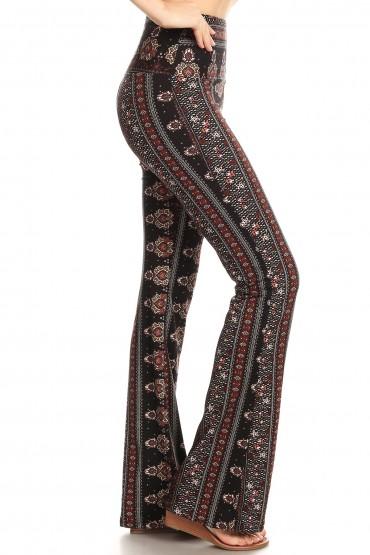 BLACK/BROWN/CRM BOHO PRINT HIGH WAIST BRUSH POLY FLARE PANTS