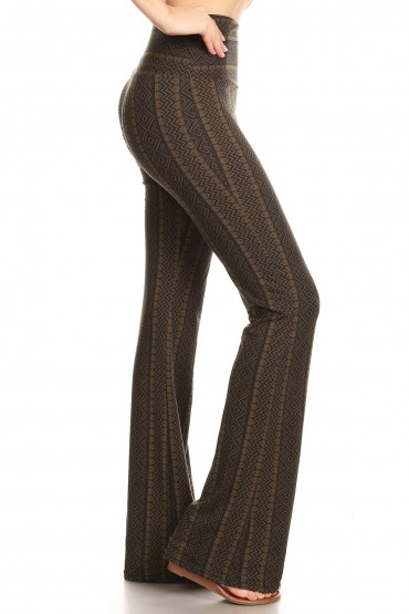 BLACK/OLIVE TRIBAL PRINT HIGH WAIST BRUSH POLY FLARE PANTS#8FP06-06