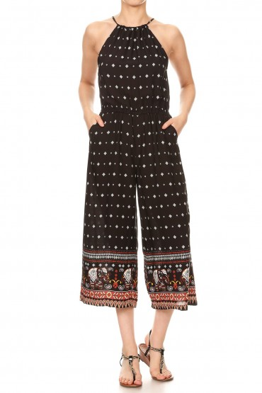 BLACK/WHIET/RED ELEPHANT BORDER PRINT OPEN BACK CROPPED JUMPSUIT#8JPS09-10
