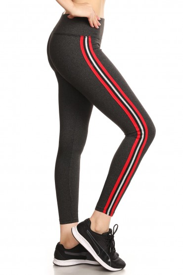 HEATHER CHARCOAL CROPPED LEGGING WITH SIDE RED/SILVER METALLIC TAPING#8L108-02