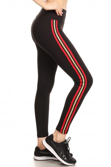 BLACK CROPPED LEGGING WITH SIDE RED/GOLD METALLIC TAPING#8L108-04