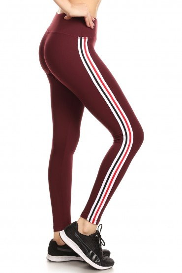BURGUNDY CROPPED LEGGING WITH SIDE RED/BLACK/WHITE TAPING#8L108-05