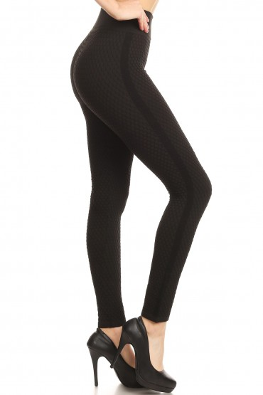 BLACK SEAMLESS HONEYCOMB TEXTURE LEGGING W/ SIDE RIB PANLES#8L78