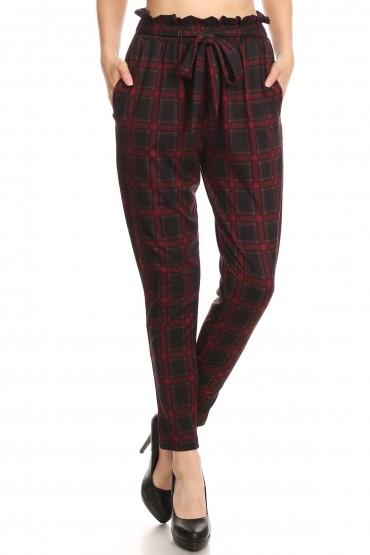 BLACK/RED PLAID PRINT PAPER BAG WAIST PANTS #8PNT03-04