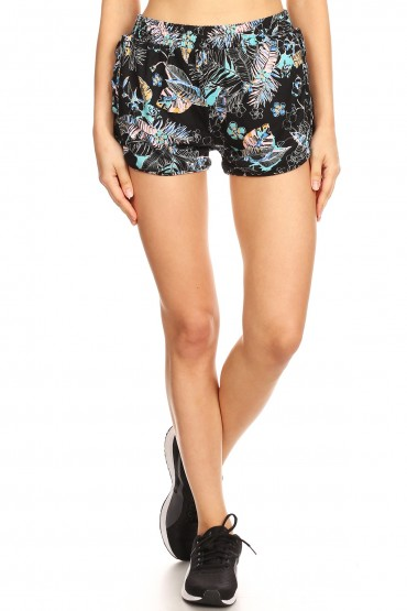BLACK/MINT TROPICAL PRINT DOLPHIN HEM SHORTS W/ SIDE STRAPS#8SH05-06
