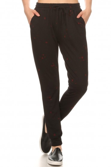 BLACK/RED PAINT SPLASH PRINT SOFT FRENCH TERRY JOGGER#8TRK30-02