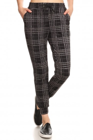 BLACK/HEATHER GREY PLAID PRINT JOGGER WITH SHOE LACE TIE#8TRK36-05