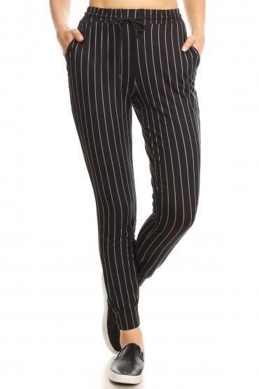 BLACK/DARK GREY STRIPE PRINT JOGGER WITH SHOE LACE TIE#8TRK36-08
