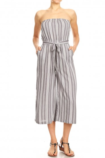 BLACK DEN/WHITE STRIPE PRINT RAYON TUBE TOP CROPPED JUMPSUIT#9JPS04-09
