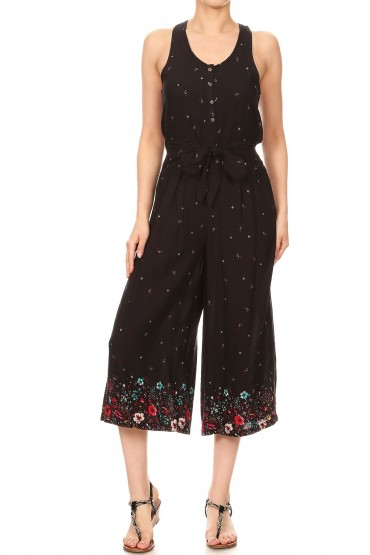 BLACK/RED FLORAL BORDER PRINT BUTTONED TANK CROPPED JUMPSUIT#9JPS12-01