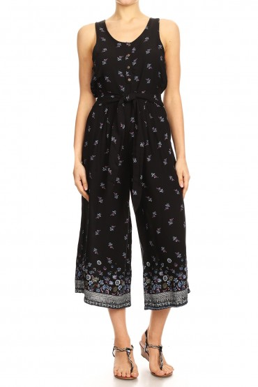 BLACK/BLUE FLORAL BORDER PRINT BUTTONED TANK CROPPED JUMPSUIT#9JPS12-02