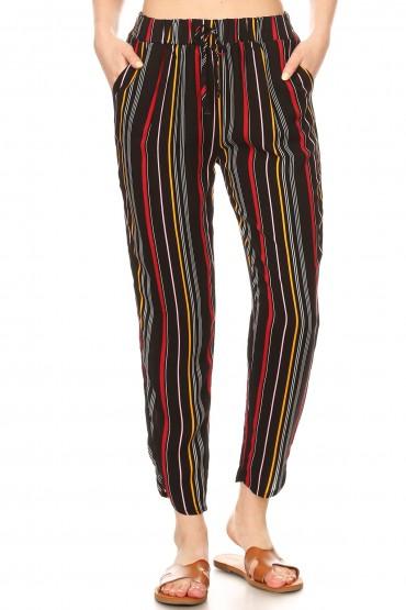 BLACK/MUSTARD/RED RAYON STRIPE PRINT DOLPHIN HEM CROPPED PANTS#9PNT01-SP04