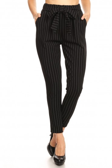 BLACK/WHITE SEMI HAREM TWILL KNIT PANTS W/ FRONT SELF TIE#9PNT13-SP28