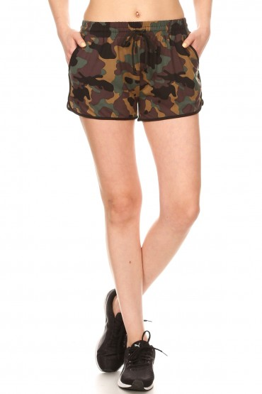 BLACK/GREEN/BROWN CAMO PRINT TRACK SHORTS#9SH14-CM01A