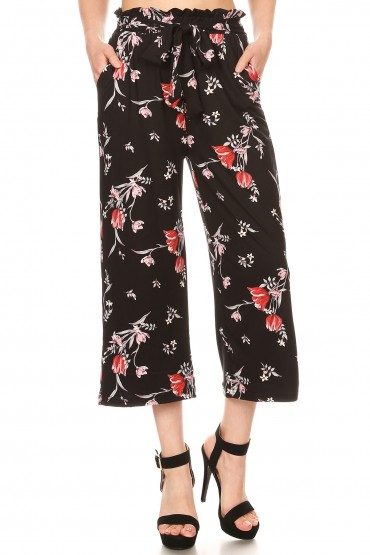 BLACK/RED FLORAL PRINT CROPPED PAPER BAG WIDE LEG PANTS#9SLP02-FL04A
