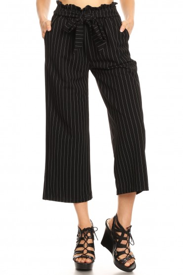 BLACK/WHITE KNIT TWILL CROPPED PAPERBAG STRAIGHT LEG PANTS#9SLP03-SP28