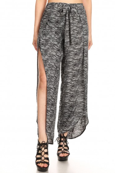 BLACK/WHITE SPACE DYE OVERLAP CROPPED WRAP PANTS#9WRP04-01