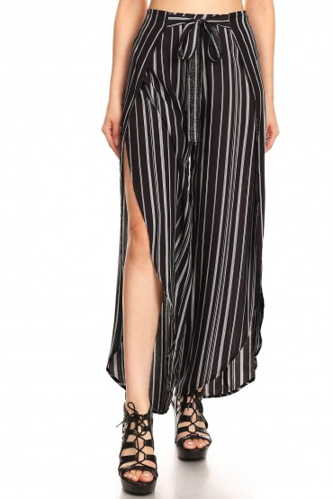 BLACK/WHITE STRIPED PRINT OVERLAP CROPPED WRAP PANTS#9WRP04-02