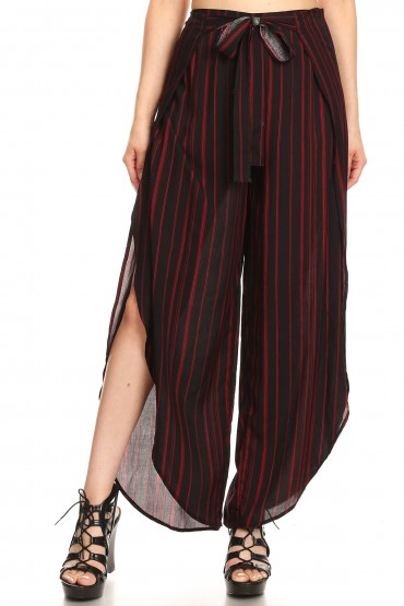 BLACK/RED STRIPE PRINT OVERLAP CROPPED WRAP PANTS#9WRP04-03