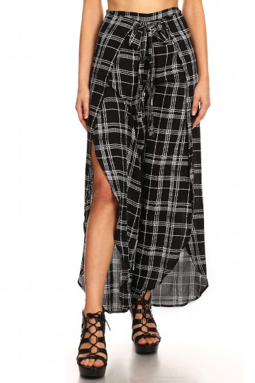 BLACK/WHITE PLAID PRINT OVERLAP CROPPED WRAP PANTS#9WRP04-05