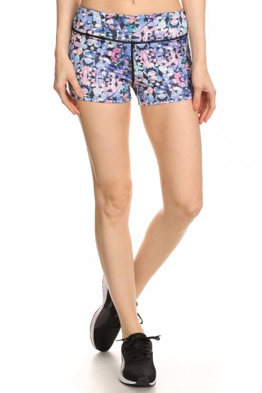 MULTI-COLOR KALEIDOSCOPE PRINT ACTIVE RUNNING SHORTS#A7SH01-05