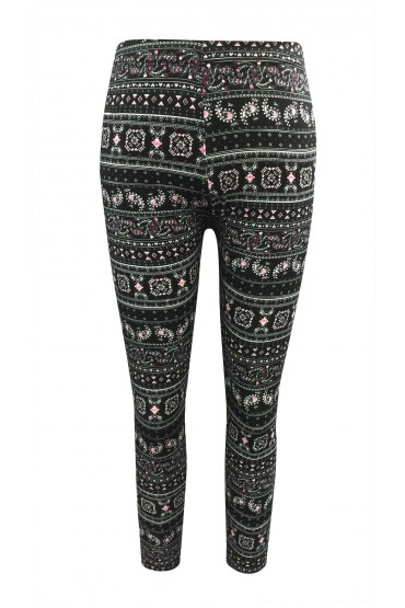 KIDS BLACK/CREAM/HOT PINK PAISLEY PRINT BRUSHED POLY LEGGING (4/5, 6/6X) #KCH6L09-35