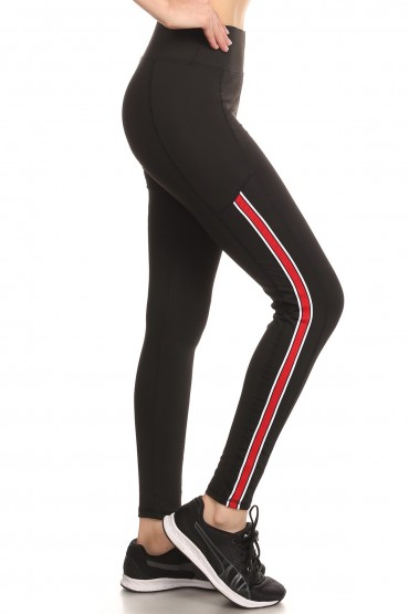 BLACK SPORT LEGGING W/ MESH STRIPES TAPES#SG80504