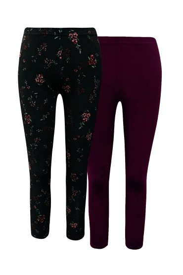 KIDS 2 PACK SOLID PLUM & BLACK/RED FLORAL PRINT BASIC LEGGING (7/8,10/12)#X2K8L54-20