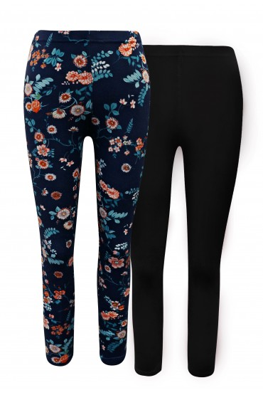 KIDS 2 PACK SOLID BLACK & NAVY/MINT FLORAL PRINT BASIC LEGGING(4/5, 6/6X) #2K8L54-25