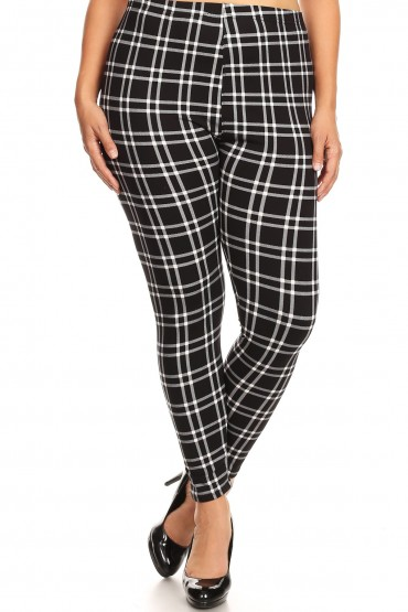 BLACK/WHITE PLAID PRINT BASIC BRUSH POLY FLEECE LINED LEGGING#X8L105-04
