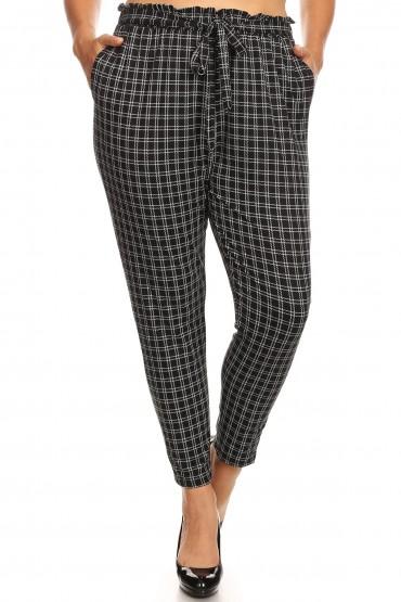 PLUS BLACK/WHITE PLAID PRINT PAPER BAG WAIST PANTS#X8PNT03-03