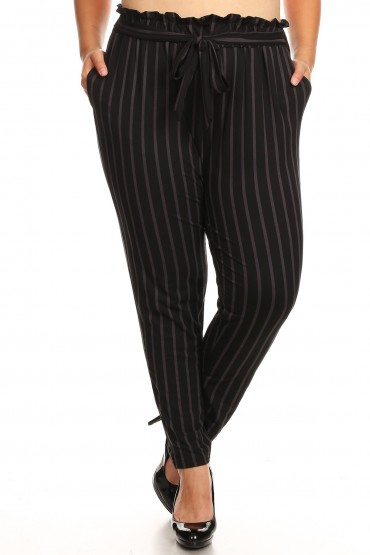 PLUS BLACK/DARK GREY STRIPE PRINT PAPER BAG WAIST PANTS#X8PNT03-05