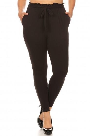 PLUS BLACK PAPER BAG WAIST PANTS #X8PNT03
