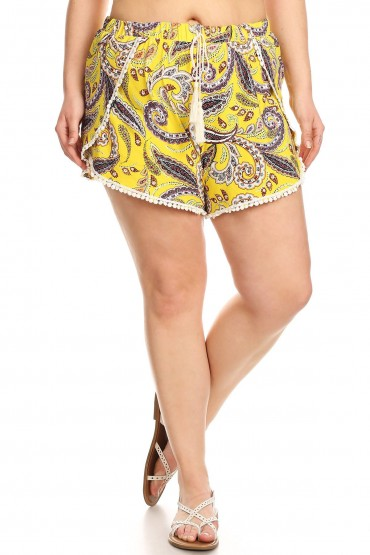 PLUS YELLOW PAISLEY PRINT BRUSH POLY POMPOM SHORTS W/ TASSEL#X8SH26-01