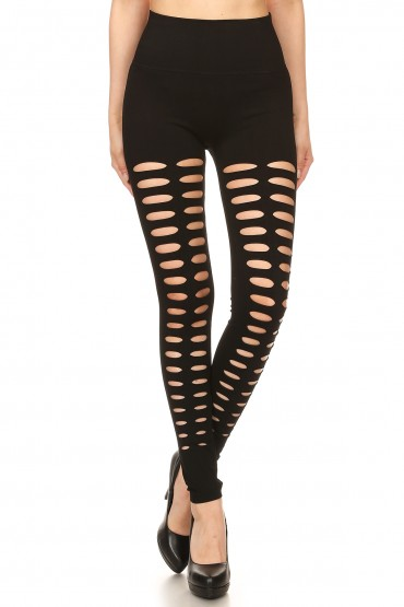 BLACK SEAMLESS HIGH WAIST LEGGING W/ DOUBLE SLICED CUT OUTS#7L127