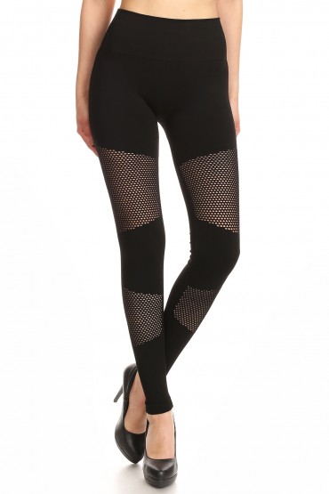 BLACK SEAMLESS HIGH WAIST LEGGING WITH FISHNET PANELS#YD7L142