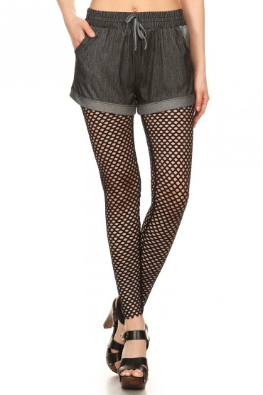 BLACK ALL OVER FISH NET LEGGING W/ ELASTIC WB#YD7L57