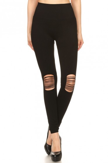 BLACK SEAMLESS LEGGING WITH OPEN KNEE PANELS WITH SLITS#7L76