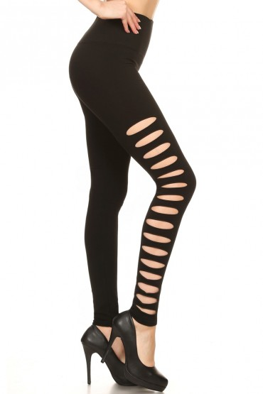 BLACK SEAMLESS LEGGING WITH SLICED CUT OUT SIDE PANELS#7L88