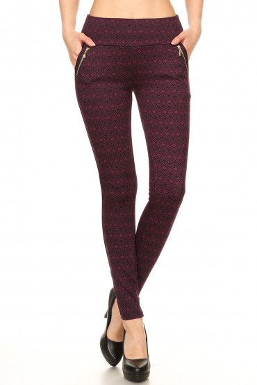 BLACK/BURGUNDY GEO PRINT TREGGING WITH ZIPPER DETAIL#YD7TRG09-16