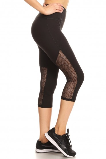 BLACK CAPRIS WITH BACK LACE LEG PANELS#YD8CP25