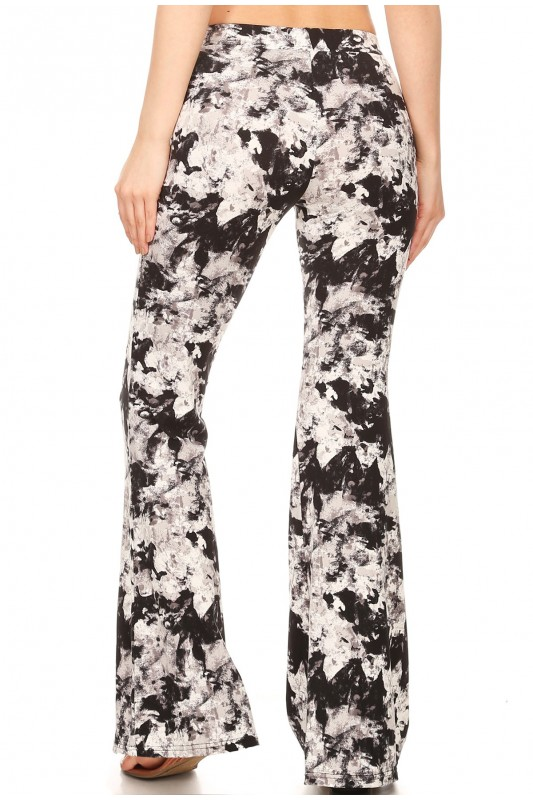 b0d164f4c4329 BLACK/WHITE ABSTRACT PRINT BRUSH POLY FLARE PANTS#8FP01-02 - New ...