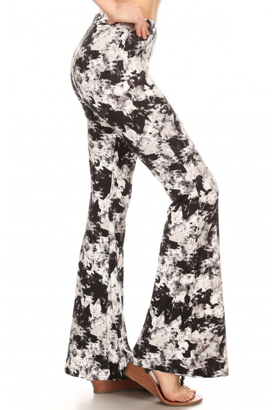 91fcdf02e5ef7 BLACK/WHITE ABSTRACT PRINT BRUSH POLY FLARE PANTS#8FP01-02